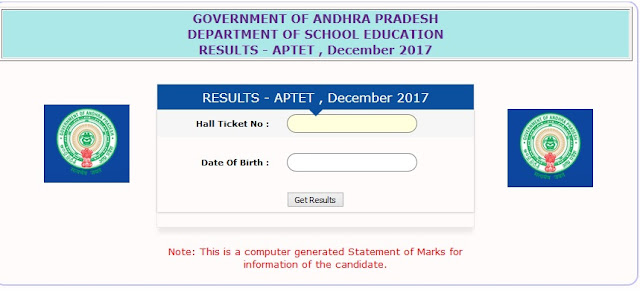 Follow these steps: To Download the results of APTET 2018