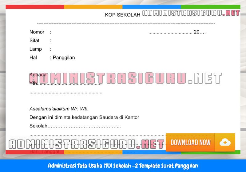 Contoh Format Surat Panggilan Administrasi Tata Usaha Sekolah Terbaru Tahun 2015-2016.docx
