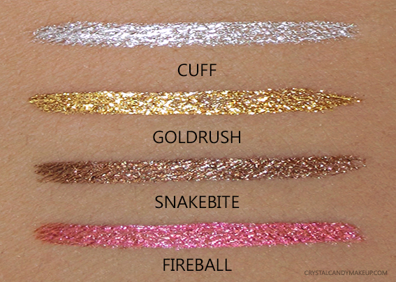 Urban Decay Razor Sharp Liquid Eyeliners Cuff Goldrush Snakebite Fireball Review Swatches