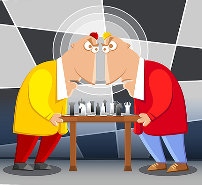 Two Men Cartoons Playing Chess