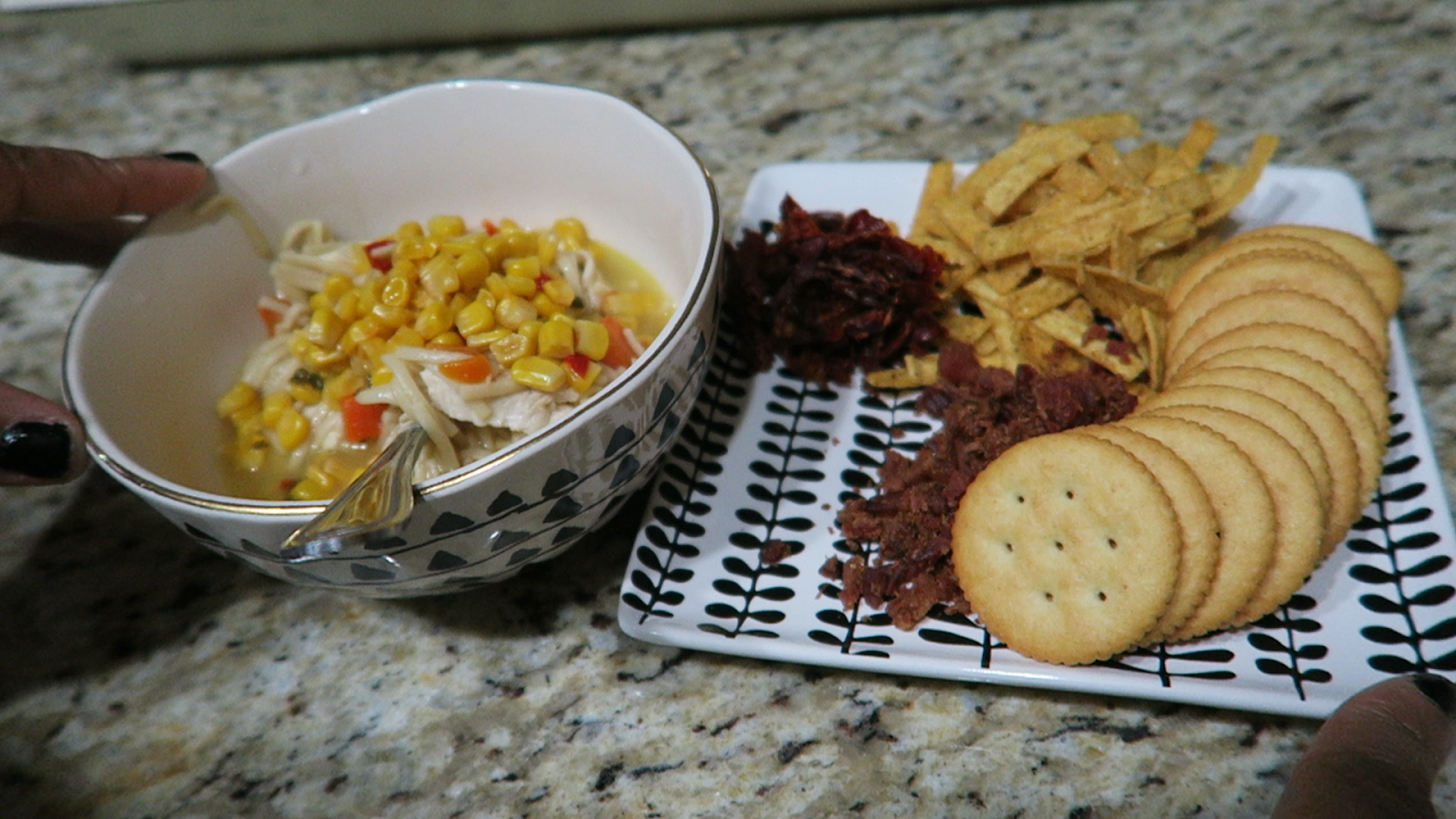Image: soup in bowl, dried tomatoes on plate,crackers,chips and bacon bits on saucer for home soup shown on bits and babbles blog
