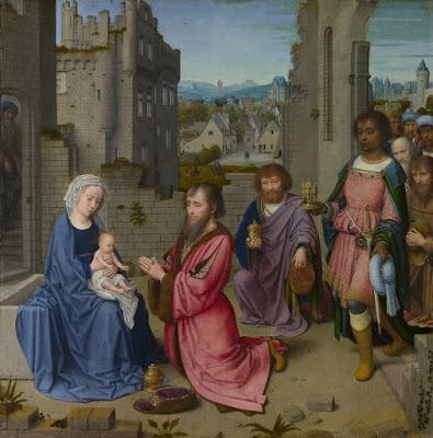 """""""Adoração dos Magos"""" (circa 1515), pintura de Gerard David (circa 1450~1460 / circa 1440) exposta Galeria Nacional em Londres."""