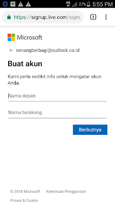 isi nama email di hotmail
