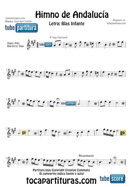 Partitura de El Himno de Andalucía para Saxofón Alto, barítono y trompa o corno en mi bemol, Barítono Letra de Blas Infante y Música de José del Castillo Sheets Music Alto and Baritone Saxophone, horn Music Scores Himno de Andalucía + partituras de tu Himno Nacional aquí