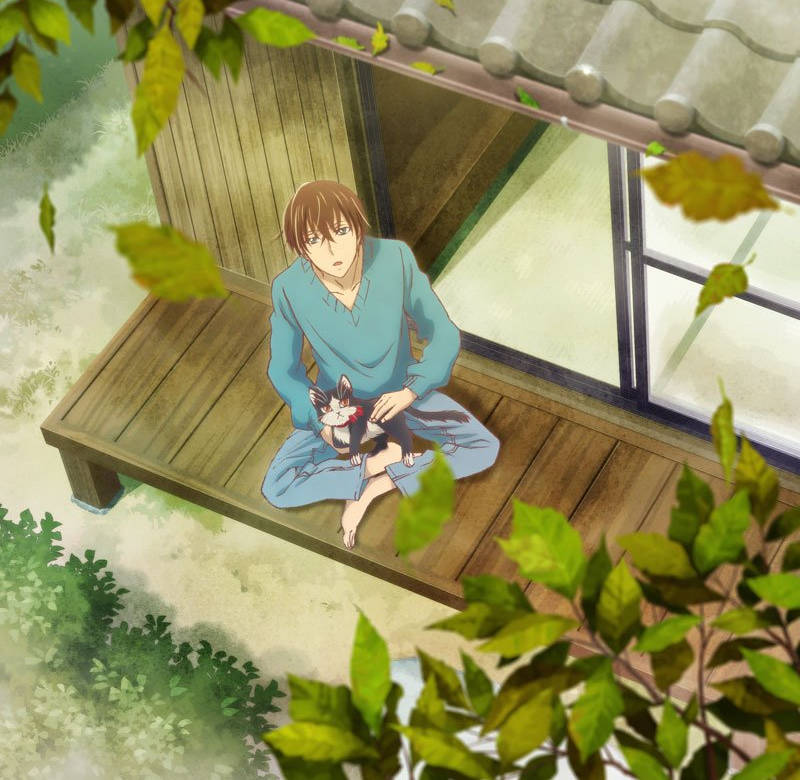 Mężczyzna z kotem z anime Doukyonin wa Hiza, Tokidoki, Atama no Ue