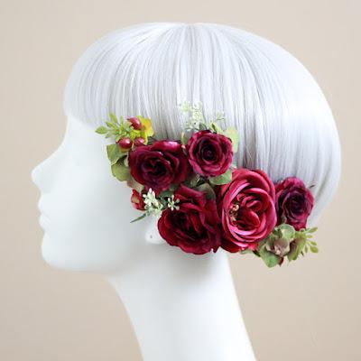 ピュアローズの髪飾り(赤)-ウェディングブーケと花髪飾りairaka