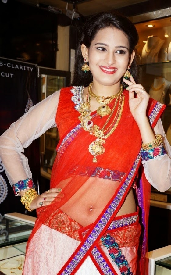Actress Swetha Jadav Latest Cute Hot Exclusive Transparent Sexy Red and White Combination Half Saree Navel Show Spicy Photos Gallery
