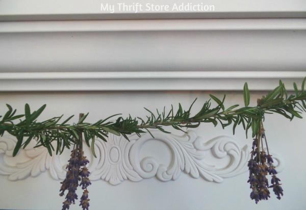 Tart Tin and Herb Flower Garden Mantel mythriftstoreaddiction.blogspot.com Rosemary and lavender herb garland