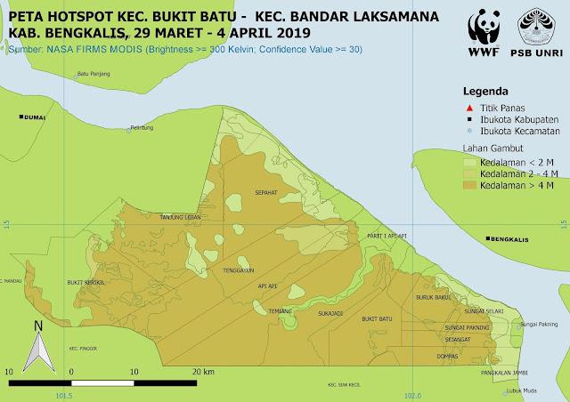 Peta Hotspot di Kec. Bukit Batu dan Kec. Bandar Laksamana Pada 29 Maret - 4 April 2019
