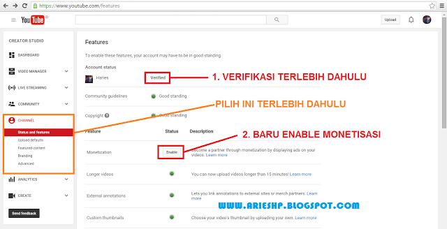 Daftar Akun Adsense Youtube 1 Arieshp