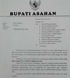 Surat edaran Bupati Asahan soal Pilgubsu.