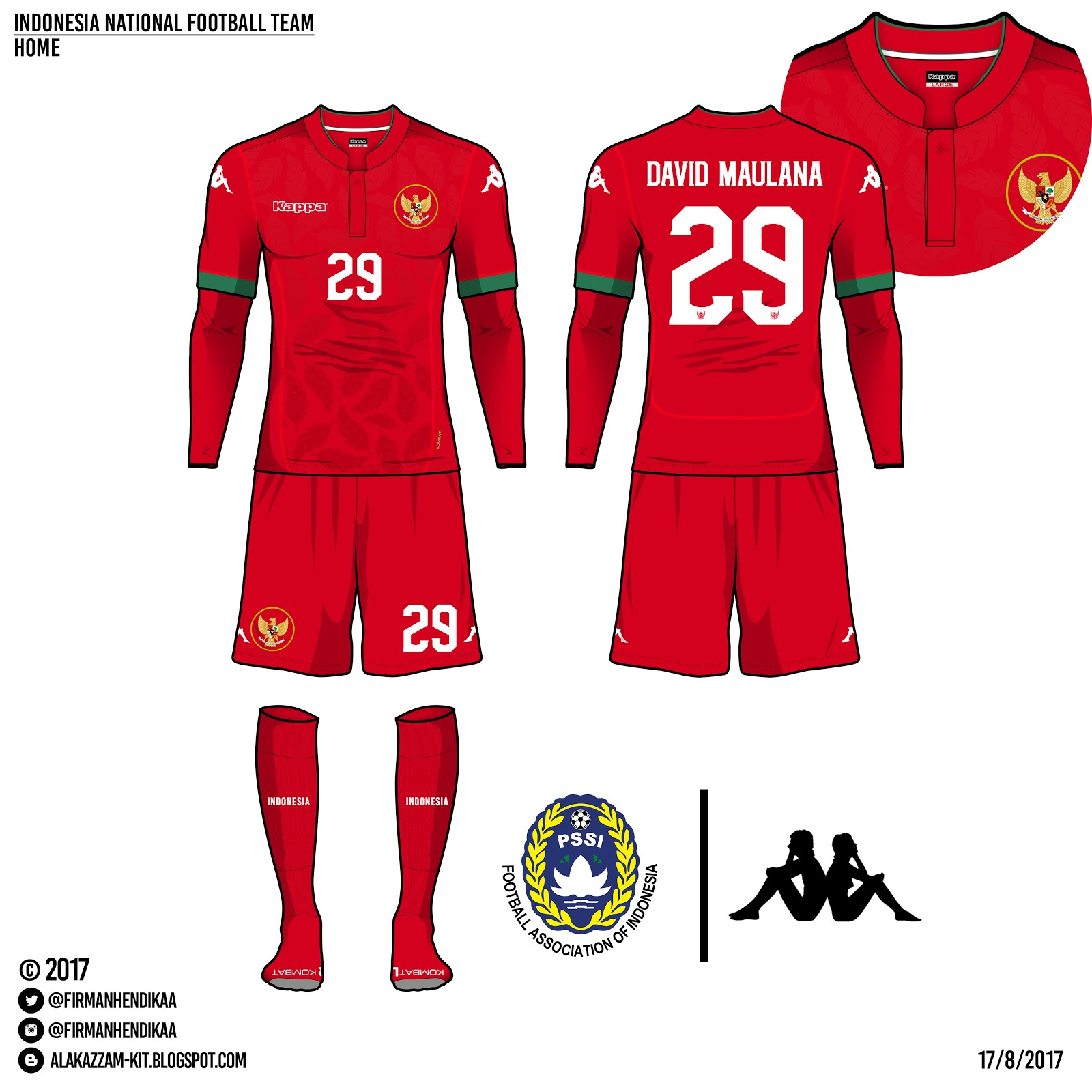 Indonesia National Football Team Fantasy Home  Away Kits Kappa  Alakazzam Kit Design