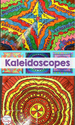 STEAM Activity: Kids draw one shape and then trace it seven times to form a symmetrical figure. Color it with bright colors and you have a kaleidoscope!