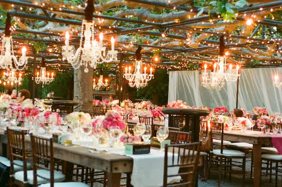 Rustic Country Outdoor Wedding Reception Night Time wedding and