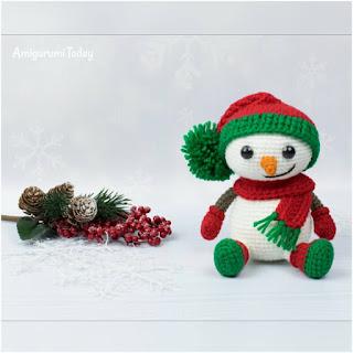 patrón amigurumi Muñeco de nieve de Navidad amigurumi today
