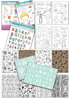 Polkadoodles Creative Doodles stamps, stencils & card collection