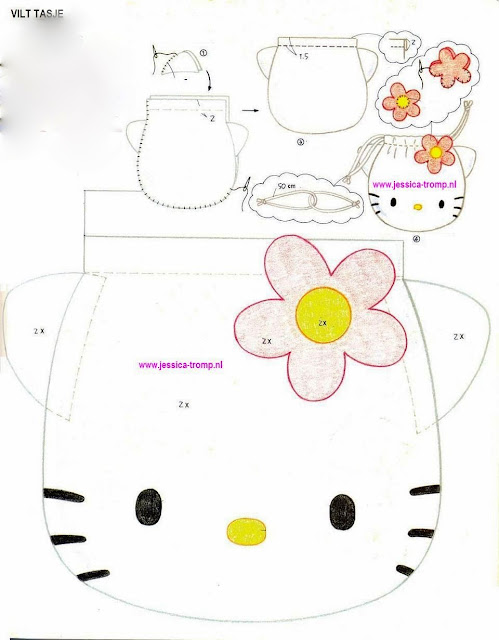Diy hello kitty felt bag tutorial plus templates oh my for Hello kitty cut out template