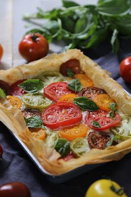 pate filo, facile , tomates multicolores , chèvre