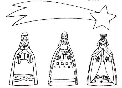 Colorear Pintar Dibujo De Reyes Magos Y Estrella Fugaz