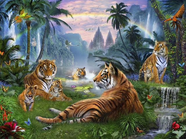 Viidakko tapetti tiikeri