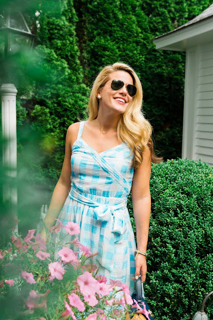 Gingham St. Simons Dress and Overlook Bag by Reese Witherspoons clothing line Draper James