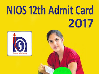NIOS 12th Hall Ticket 2017 Download, NIOS 12th Admit Card 2017