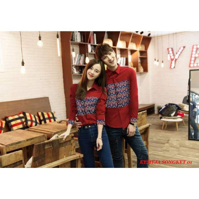 Jual Online Kemeja Songket 01 Merah Couple Murah Jakarta Bahan Katun Terbaru.