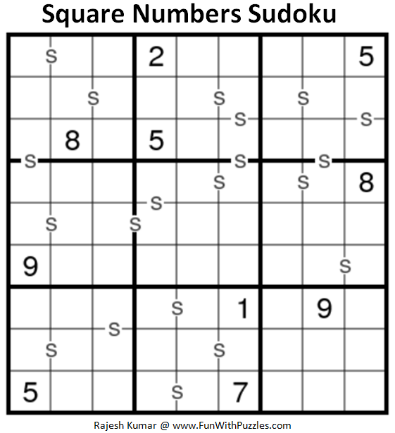 Square Numbers Sudoku (Fun With Sudoku #228)