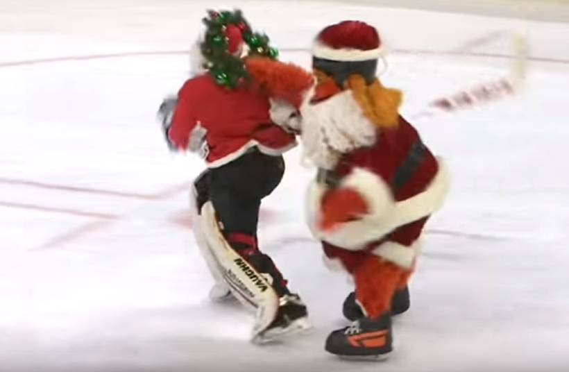 Philadelphia Flyers mascot Gritty takes down Santa Claus