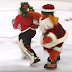 Gritty takes down Santa Claus during Flyers intermission goalie race (Video)