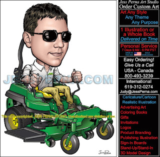 How to order a gardener on zero turn mower truck wrap ad how to digital gardening company caricatures and cartoons publicscrutiny Image collections