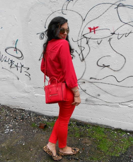 Cherry red monochrome outfit, leopard loafers and Celine Nano handbag