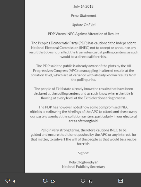 PDP Warns INEC Against Alterations Of Results