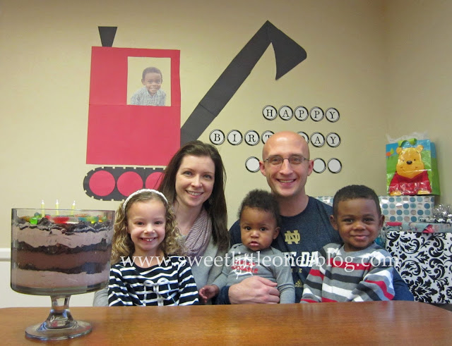 Mike Mulligan and His Steam Shovel Birthday Party + Dirt Pudding Trifle Dessert Recipe - www.sweetlittleonesblog.com