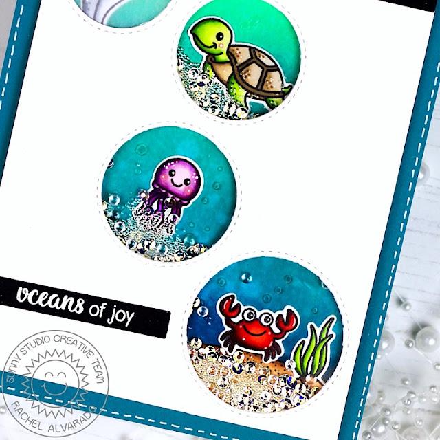 Sunny Studio Stamps: Staggered Circle Dies Oceans Of Joy Magical Mermaids Birthday Card by Rachel Alvarado