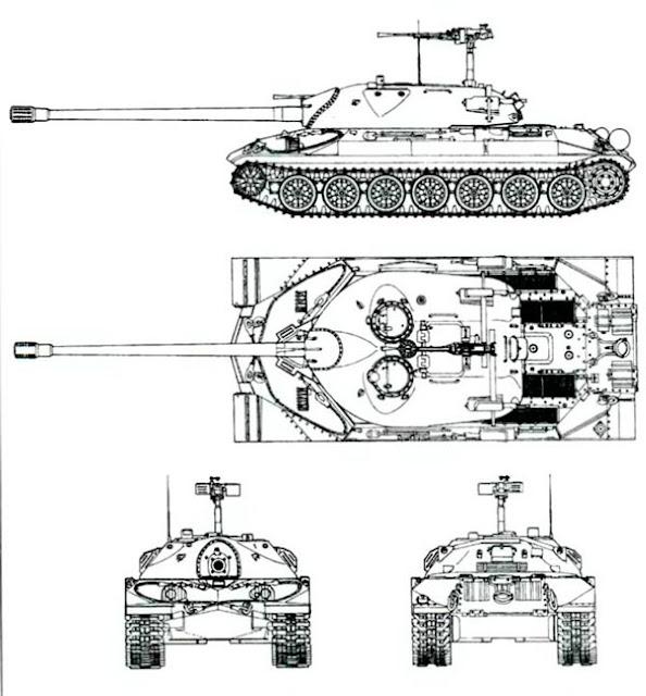 Утвержденный внешний вид эталонного танка ИС-7. 1948 г.