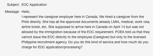 Canada Bound Caregiver Needs to Get OEC from a POEA Registered Recruitment Agency