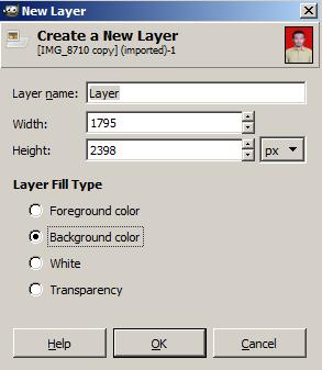 Pilihan Warna New Layer