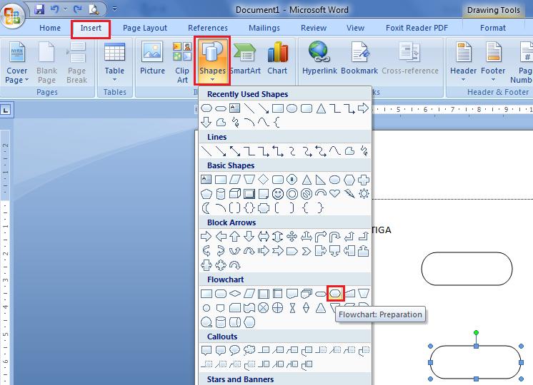 Praktik Membuat simbol flowchar dengan MS Word