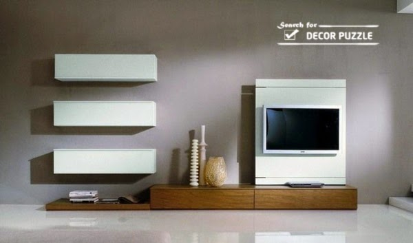 white modern TV units wall mounted for living room