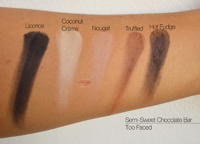 Semi-Sweet Chocolate Bar, Too Faced, Licorice, Coconut Creme, Nougat, Truffled, Hot Fudge, Swatches