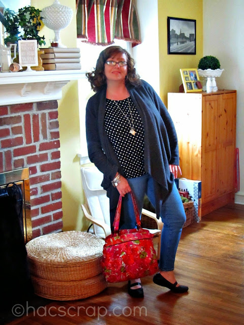 Jeans Styled with a tank and a drape Cardigan