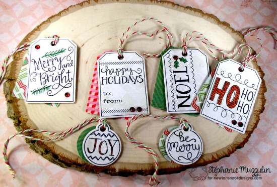 Holiday Tags by Stephanie Muzzulin | Joyful Tags stamp set & Tags Times Two Die Set by Newton's Nook Designs #newtonsnook