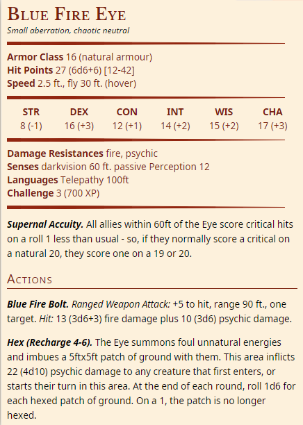 Blue Fire Eyes (CR 3 & CR 12)