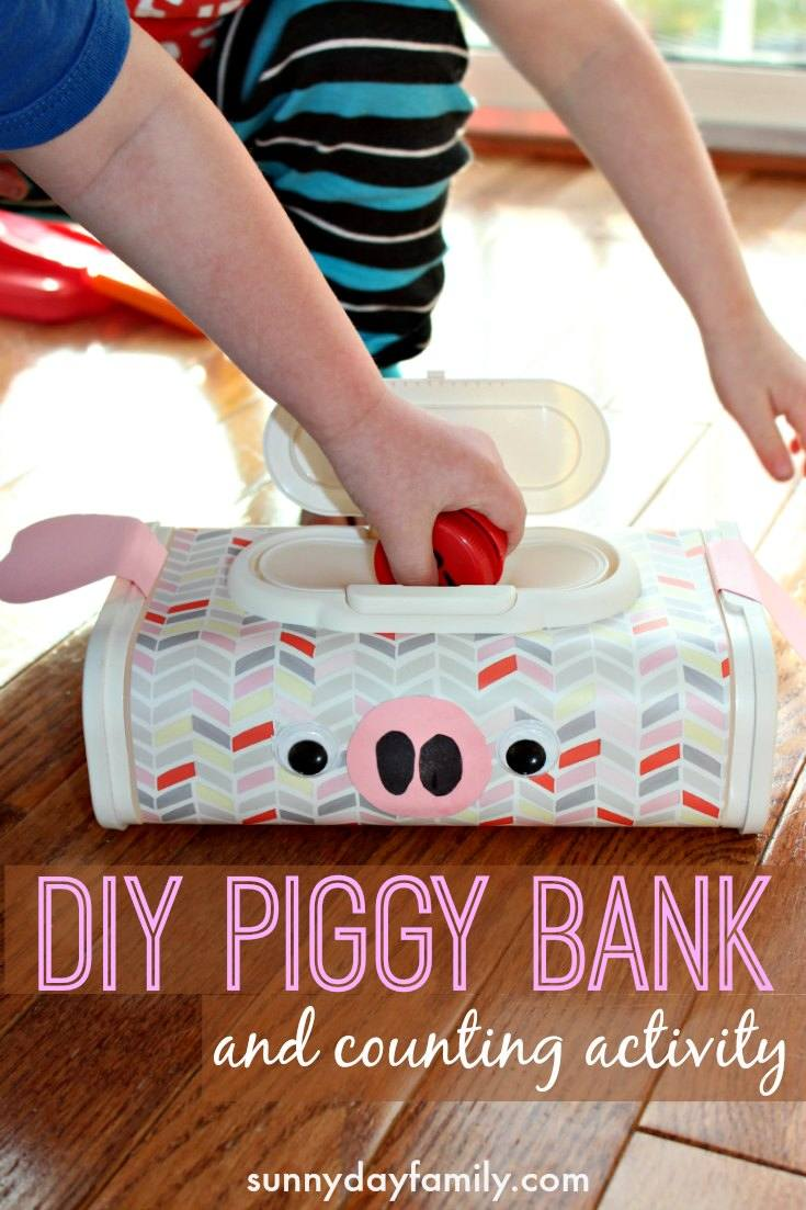Make a piggy bank from a recycled wipes container! Add in some milk cap coins for a fun preschool counting activity, or use it as a real DIY piggy bank for kids. Such an easy way to help kids learn about money!