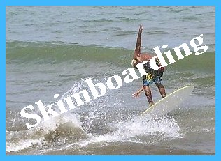 Skimboarder in action