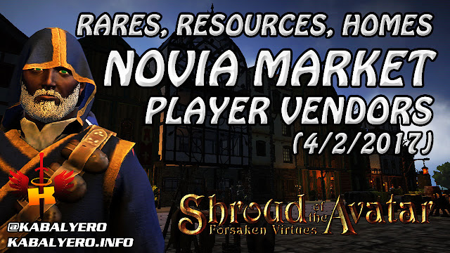 Novia Market - Rares, Resources, Homes and More (4/2/2017) 😂 Shroud Of The Avatar (Market Watch)