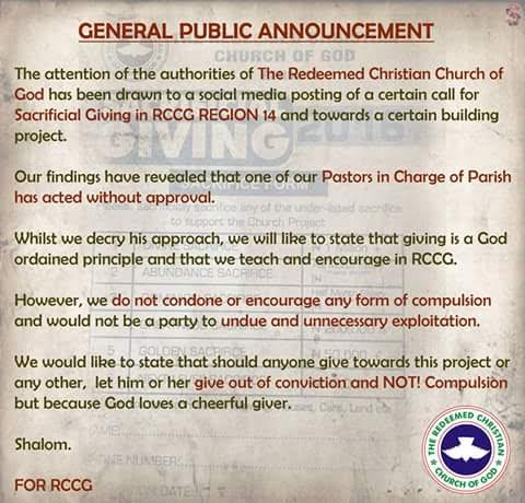 rccg Church scam