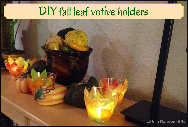 DIY fall leaf votive holders ~ Life in Random Bits #diy #thanksgiving #candles