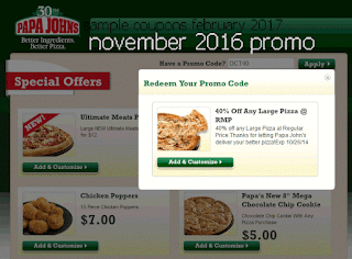 Papa Joes Pizza coupons february